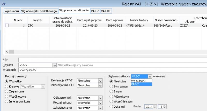 Filtrowanie rejestr VAT